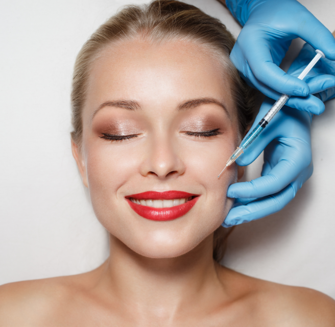 Woman undergoing cosmetic treatment