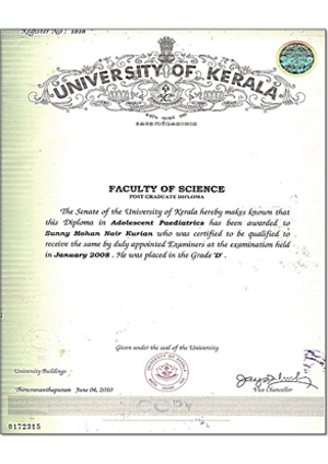 Certificate from University of Kerala