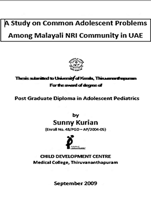 Study on Common Adolescent problems among Malayali NRIs in UAE