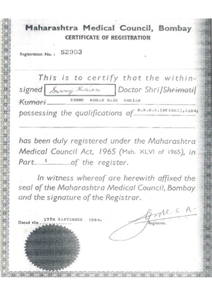 Maharashtra Medical Council Certificate of Registration