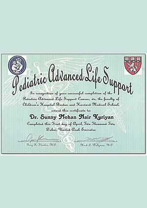 Pediatric Advanced Life Support Certificate